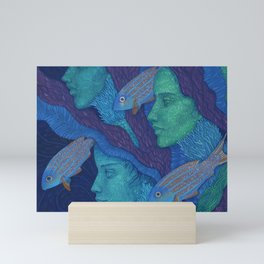 Waiting, Mermaids Fish, Undewater Surreal Fantasy Mini Art Print