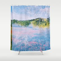 cities Shower Curtains featuring Cloud cities by Valeria Nuyanzina
