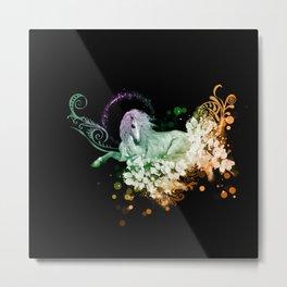 Wonderful unicorn with flowers Metal Print