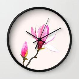 magnolia watercolor painting Wall Clock