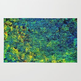 Abstract Flowers yellow and green Rug