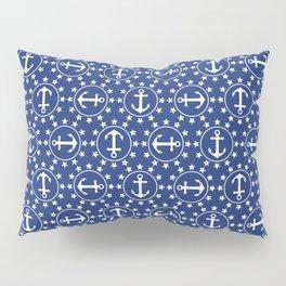 White Anchors & Stars Pattern on Navy Blue Pillow Sham