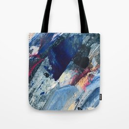 Flourish [1]: a vibrant abstract mixed-media piece in blues, magenta, and gold Tote Bag