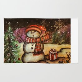 Christmas Surprise Snowman Rug