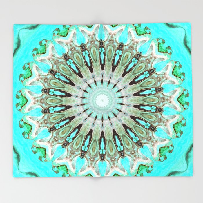 Tropical Floral Mandala Throw Blanket