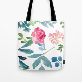 Floral on White Tote Bag