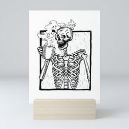 Skeleton Drinking a Cup of Coffee Mini Art Print