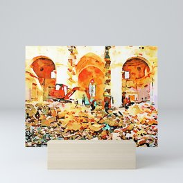 L'Aquila: bulldozer and firefighters on the rubble in the interior of church destroyed Mini Art Print
