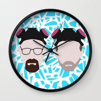 jesse pinkman Wall Clocks featuring Walter White and Jesse Pinkman by Raquel Segal