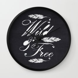Wild & Free-White/Black Wall Clock