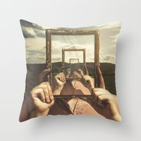 frame Throw Pillows featuring Empty Frame by Seamless