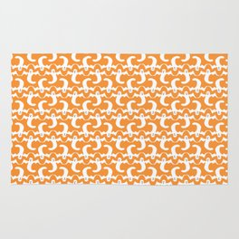 Halloween Ghost Pattern over Orange Background Rug