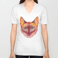 cat coquillette V-neck T-shirts featuring cat by Ola Liola