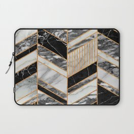 Abstract Chevron Pattern - Black and White Marble Laptop Sleeve
