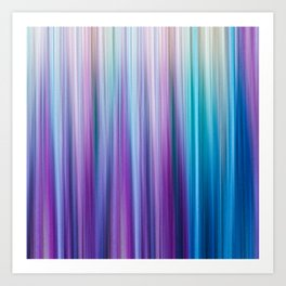 Abstract Purple and Teal Gradient Stripes Pattern Art Print