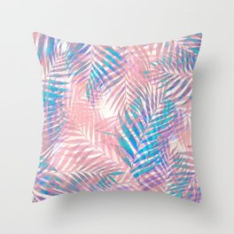 Palm Leaves - Iridescent Pastel Throw Pillow