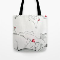 pigs Tote Bags featuring Flying Pigs by Joshua James Stewart
