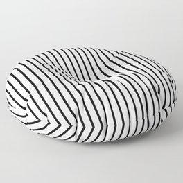 Black Pinstripe On White Pattern Floor Pillow