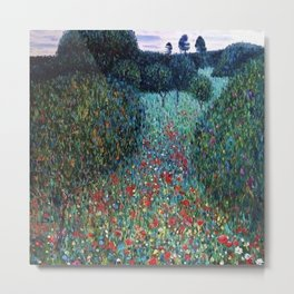 Poppy Fields garden landscape wildflowers floral painting by Gustav Klimt Metal Print