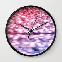 glitter Wall Clocks featuring Pink Purple Blue Glitter by WhimsyRomance&Fun