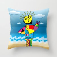 surfer Throw Pillows featuring Surfer by Moisés Ferreira