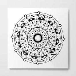 patience black mandala on white Metal Print