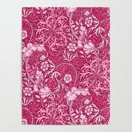 Art Nouveau Seaweed Floral, Deep Coral Pink Poster