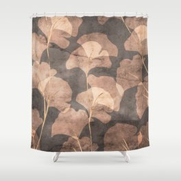 Ginkgo Leaves Rose Gold Brown Shower Curtain