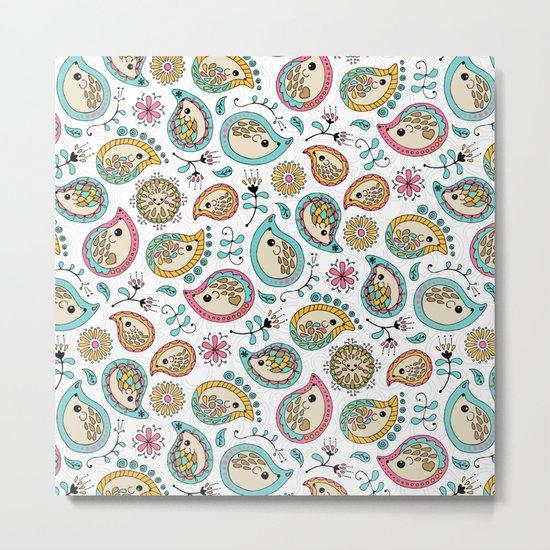 Hedgehog Paisley_Colors and White Metal Print