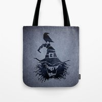 witch Tote Bags featuring witch by Erdogan Ulker
