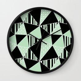 Black, green polygonal geometric pattern. Wall Clock