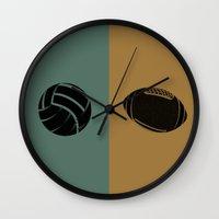 football Wall Clocks featuring Football & Football by hensleyandchristensen