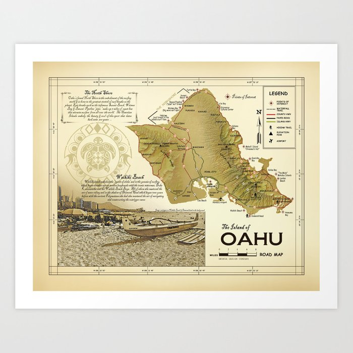 photograph regarding Printable Map of Waikiki named The Island of Oahu [Waikiki / Diamond Brain] Traditional encouraged Street Map Artwork Print