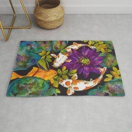 Purple Lily and Koi Fish Rug