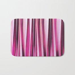 Rose Wine and Burgundy Stripy Lines Pattern Bath Mat