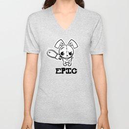 Epic Grumpy Voodoo Bunny Cute Bigfoot Monsters Unisex V-Neck