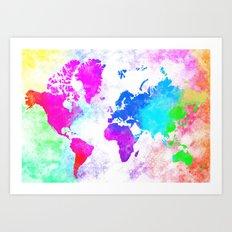 World Map Illustration Art Print
