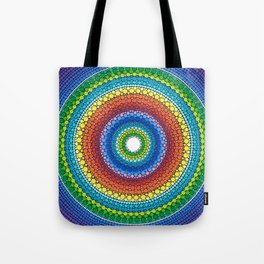 Happy Rainbow Mandala Tote Bag