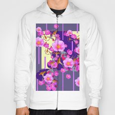 Modern Artwork Pink Wild Roses Purple Grey Design Hoody