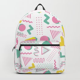 Abstract retro pink teal yellow geometrical 80's pattern Backpack