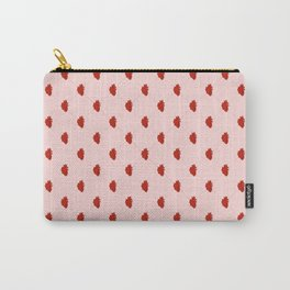 Red Heart Repeating Gingham Micro-Print Pattern Carry-All Pouch