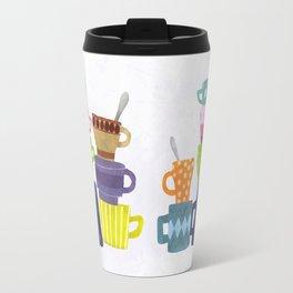Coffee And Tea Cups And Mugs Stacked High Travel Mug