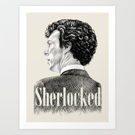 Sherlocked - Sherlock Holmes Benedict Cumberbatch Crosshatch Etching Art Print