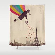 Parisians, eat strawberries. Shower Curtain