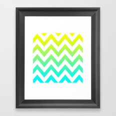 YELLOW & TEAL CHEVRON FADE Framed Art Print