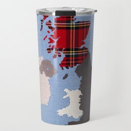British Isles Fabric Map Art Travel Mug