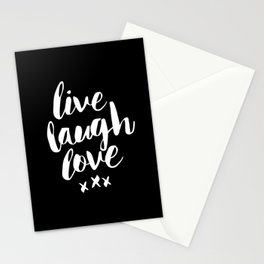 Live Laugh Love black and white monochrome typography poster design home wall decor canvas Stationery Cards