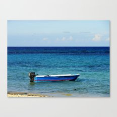 Blue boat red stripe in ocean water color photography Canvas Print