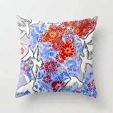 Floral Doves Throw Pillow