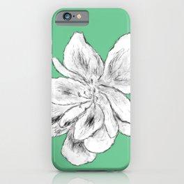 Sketchy Malva Flower Drawing (green back) iPhone Case